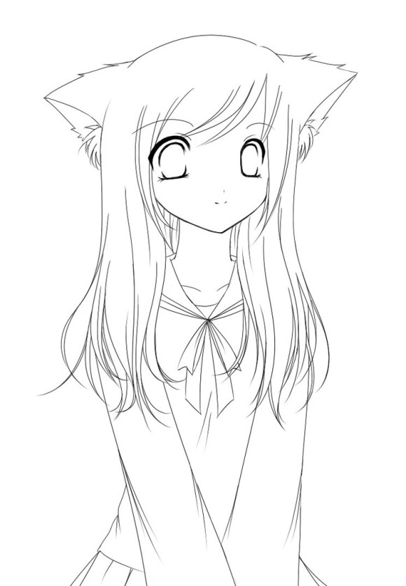 580x836 Best Cat Girls Anime Coloring Pages Free Printable