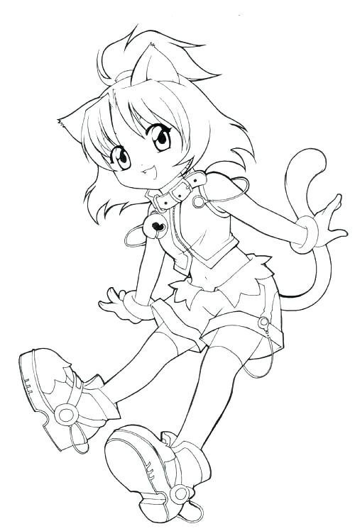 500x749 Anime Cat Coloring Pages Cat Girl Anime Coloring Pages