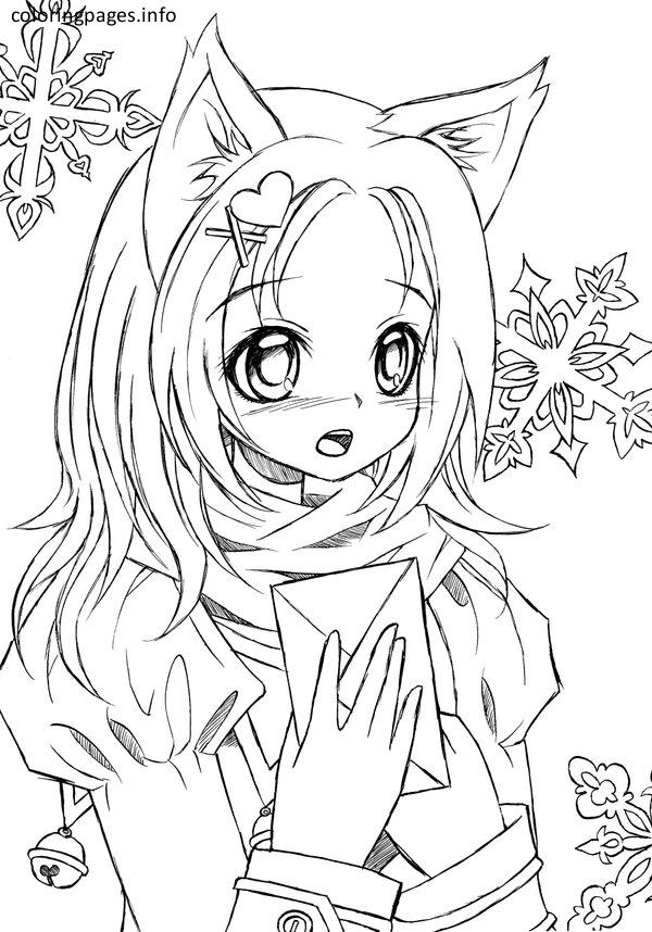 600x858 Cat Girl In Japanese Anime Coloring Page And Pages