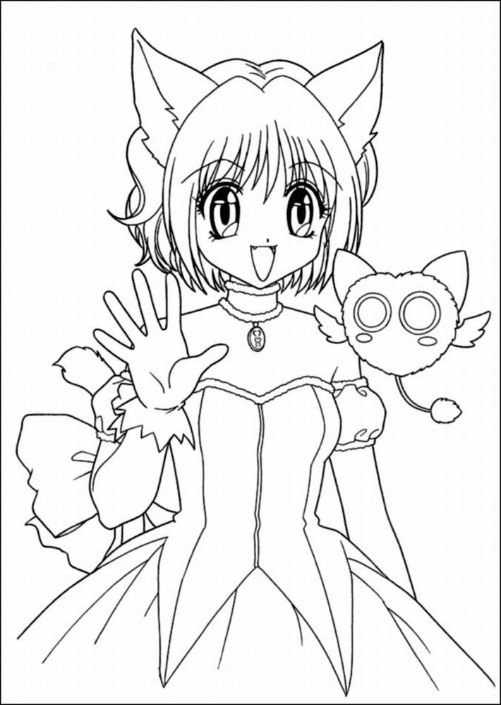 710x998 Printable Anime Coloring Pages Anime Coloring Sheets Cat Girl