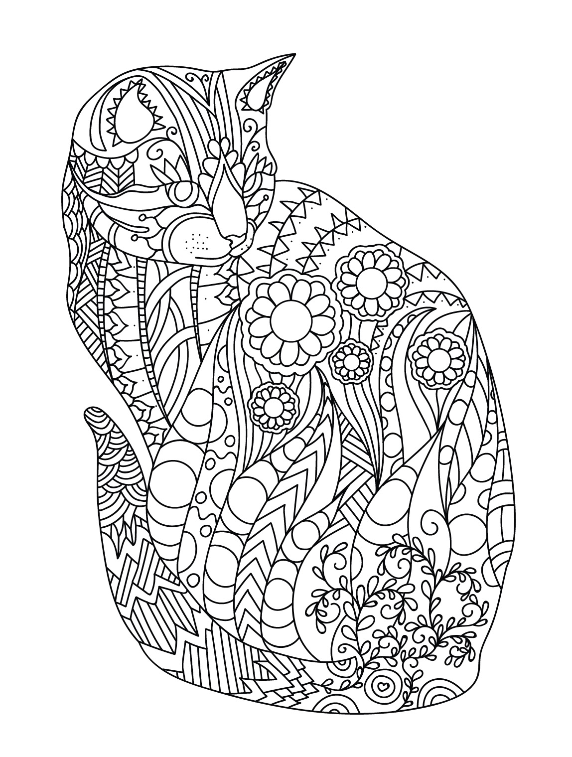 1148x1519 Nice Idea Cat Coloring Pages For Adults Colorish Book Mandala