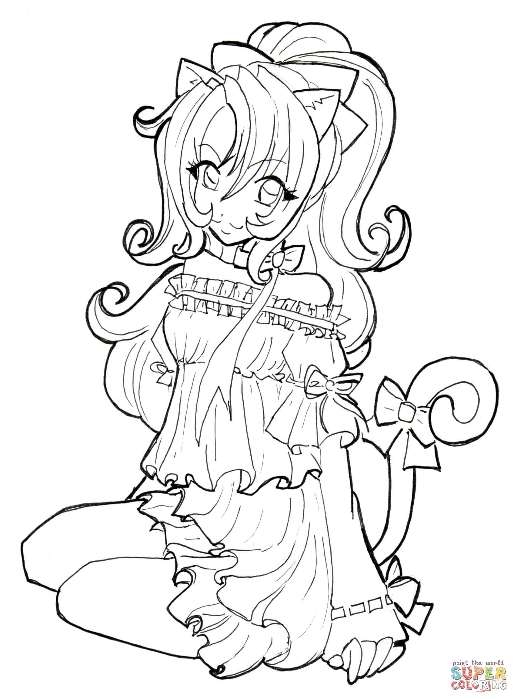 1696x2305 Stunning Cat Girl Coloring Page Printable Picture For Popular