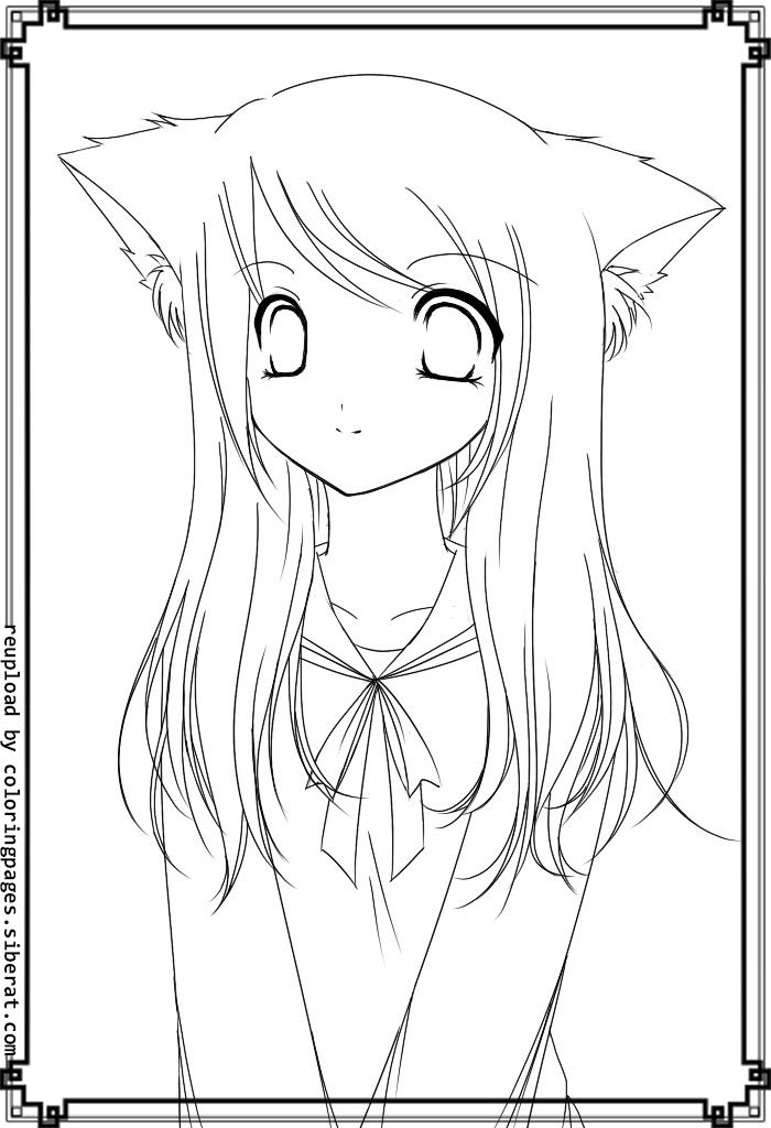 700x1024 Anime Cat Girl Coloring Pages