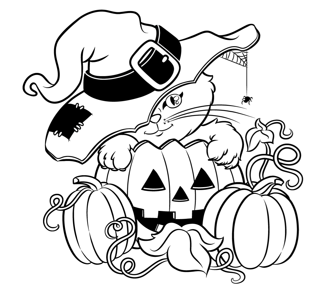 1135x998 Halloween Cat With A Hat Free Coloring Page Animals, Halloween