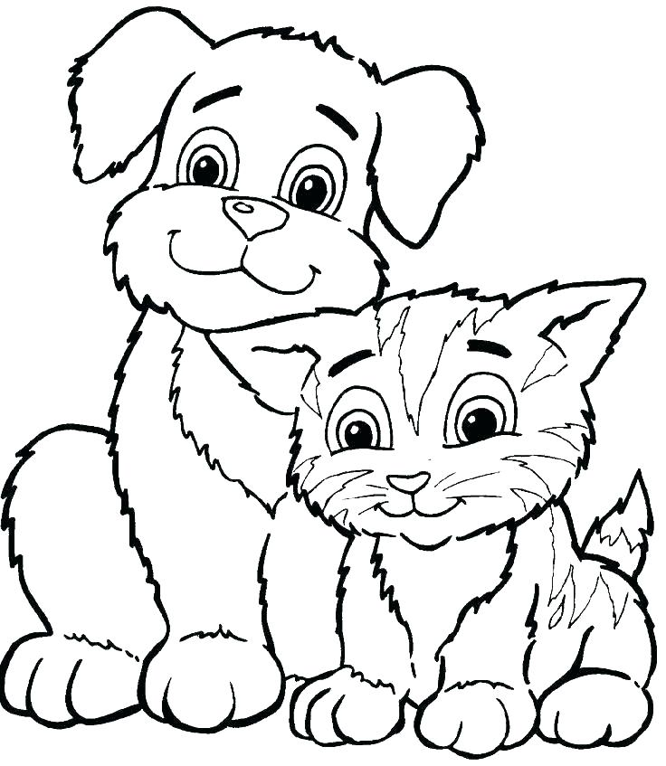 736x847 Free Puppy And Kitty Coloring Pages Kids Kitten Cat