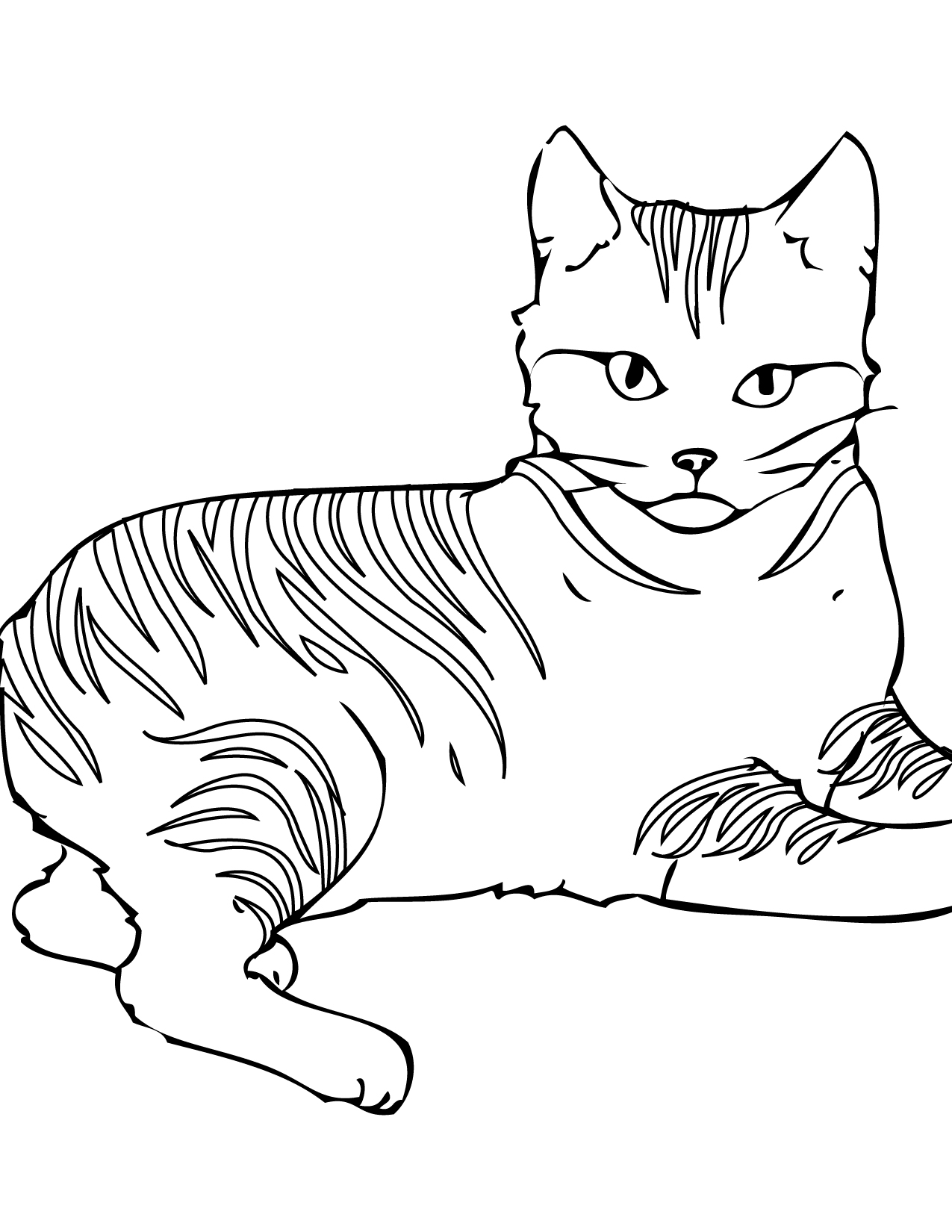 1275x1650 Easy Pictures Of Cats To Color Online Coloring Pages Page