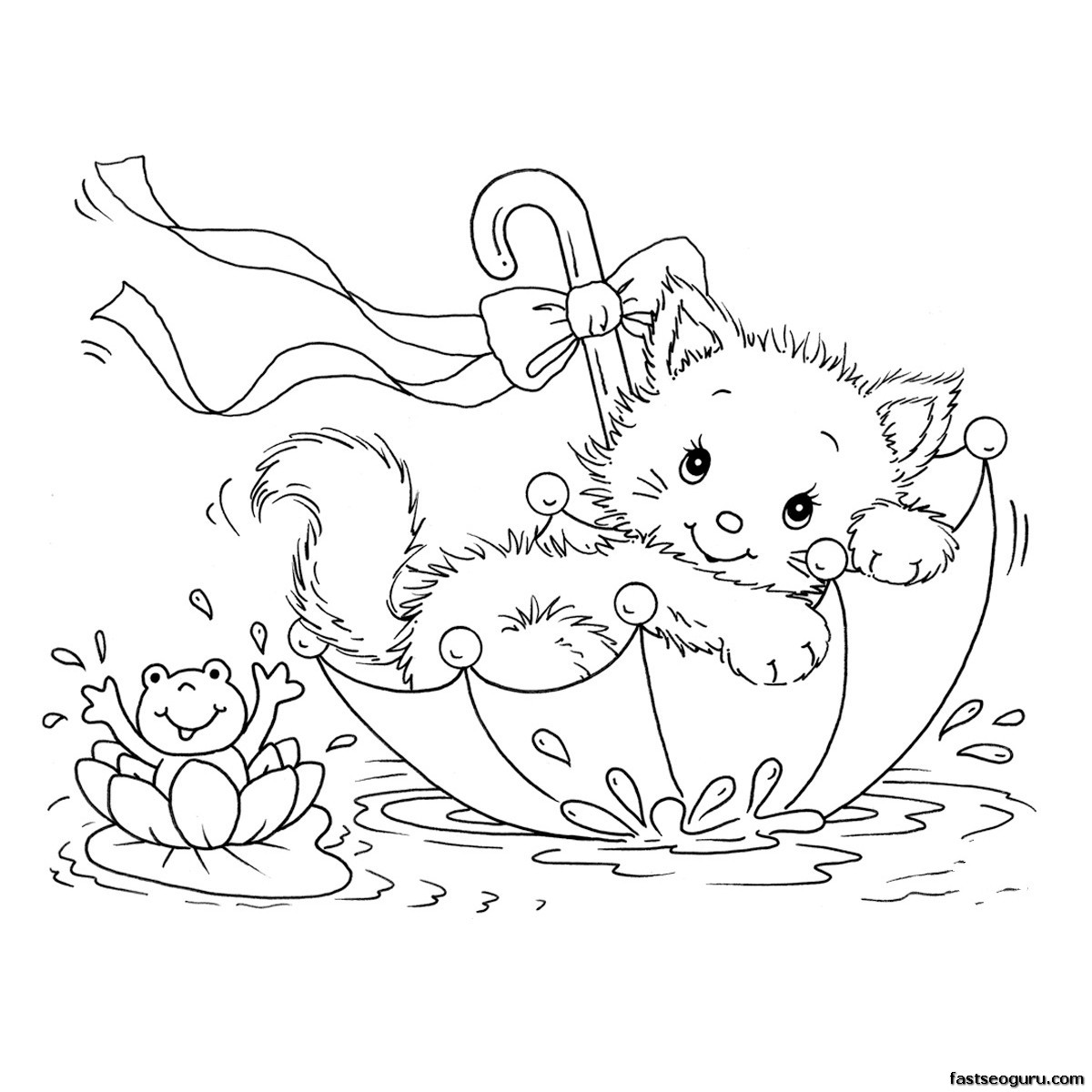 1200x1200 Three Cute Cat Coloring Pages Free