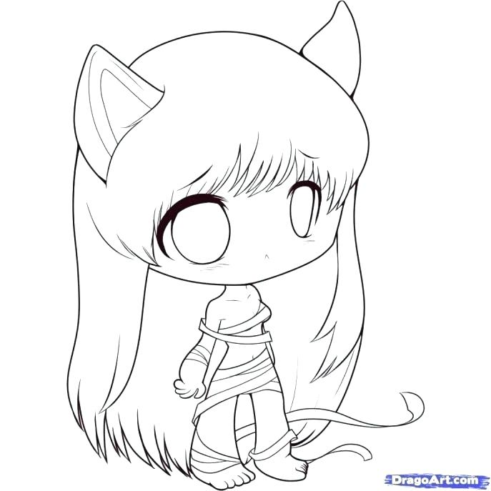 687x687 Anime Girl Coloring Pages Anime Cat Coloring Pages Medium Size