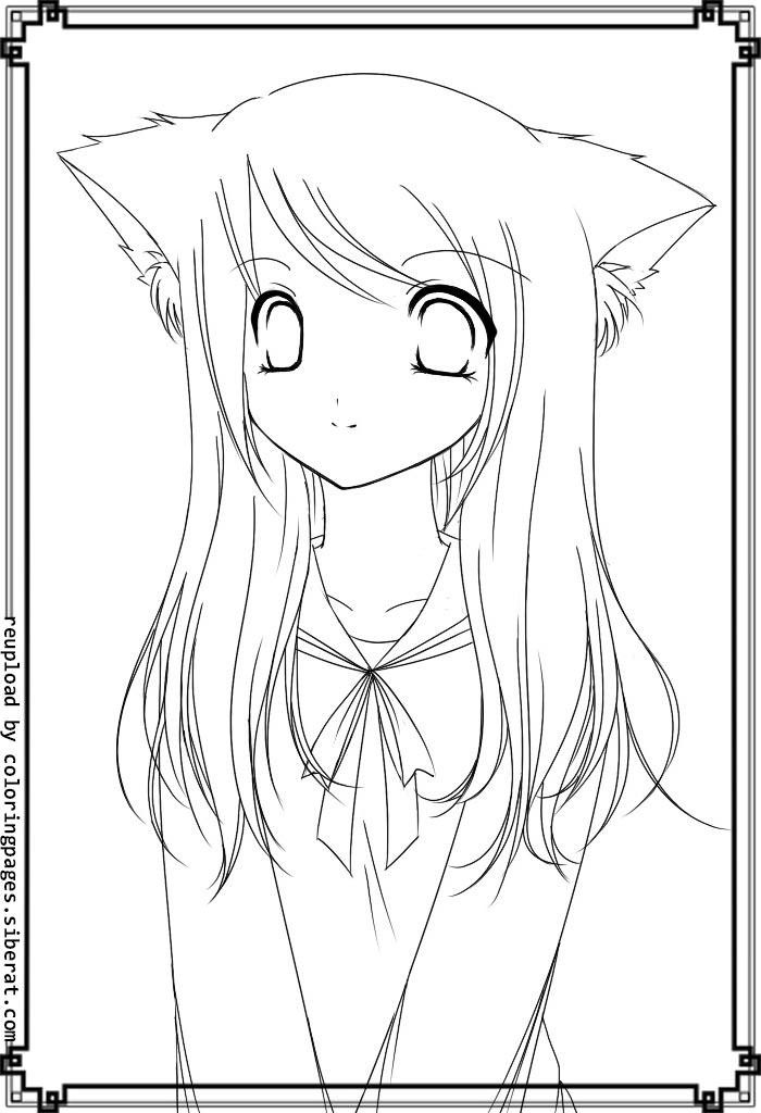 700x1024 Coloring Pages Of Anime Girls Anime Cat Girl Coloring Pages