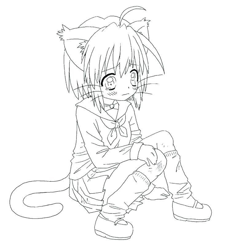 736x807 Anime Cat Girl Coloring Pages No Collection Medium Size Of Girls