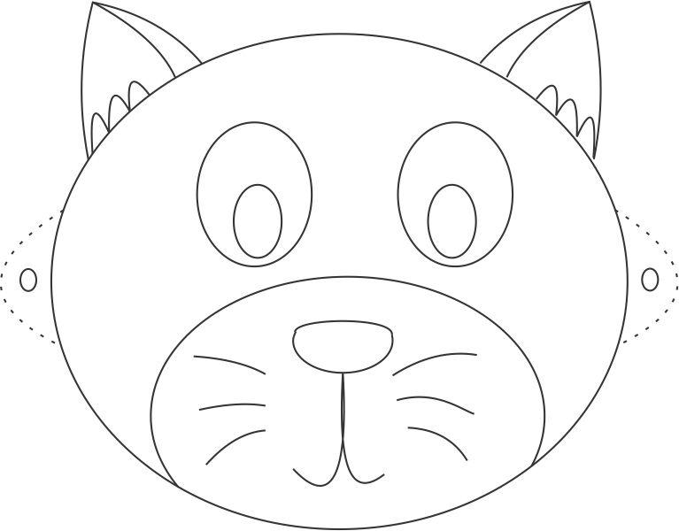 767x600 Cat Mask Printable Coloring Page For Kids
