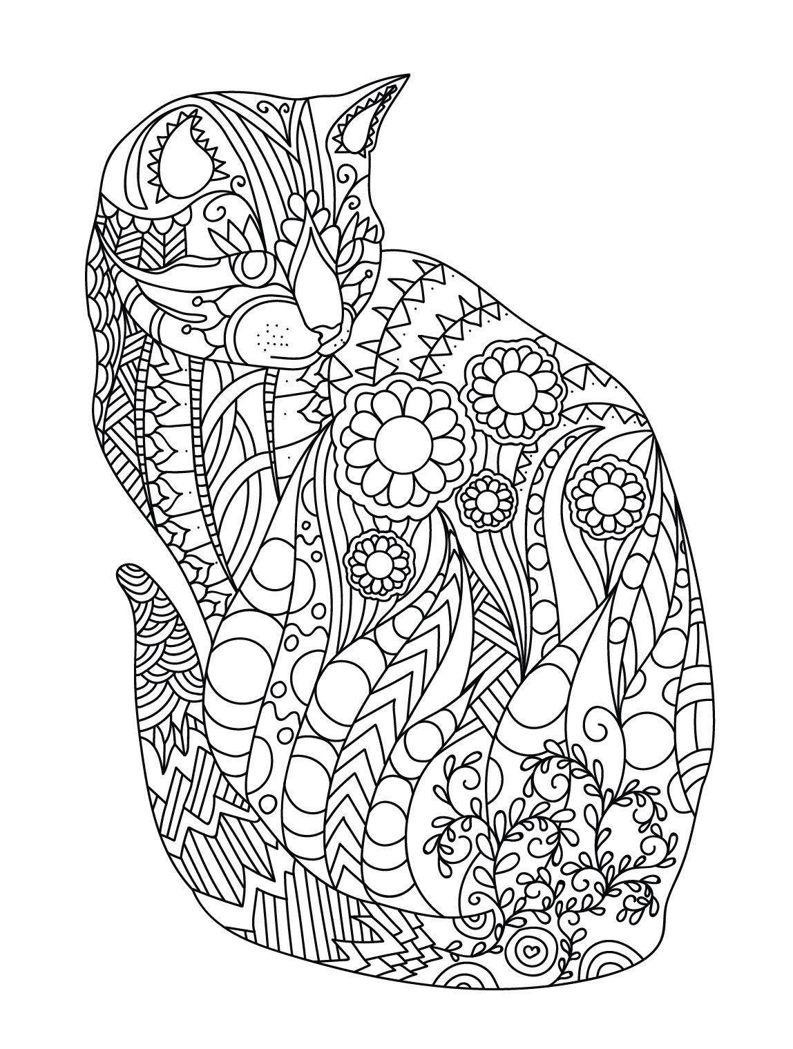 1148x1519 Cat Colorish Coloring Book For Adults Mandala Relax