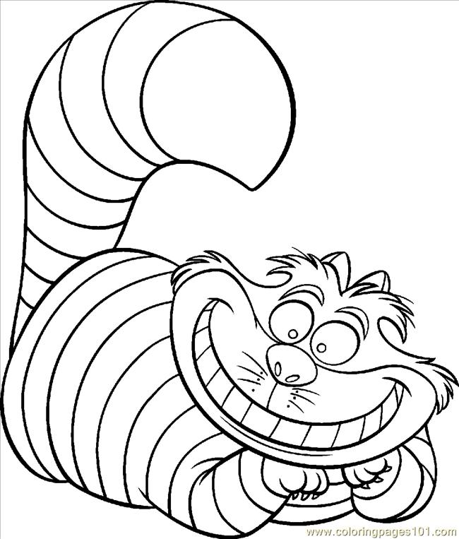 650x763 Cheshire Cat Color Coloring Page