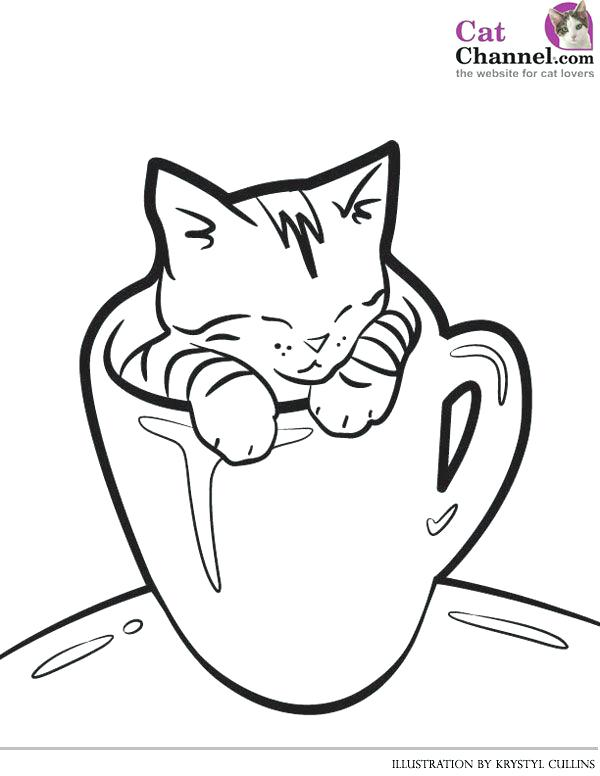 600x776 Cat Coloring Pages Cat And Kitten Coloring Pages Printable Sketch