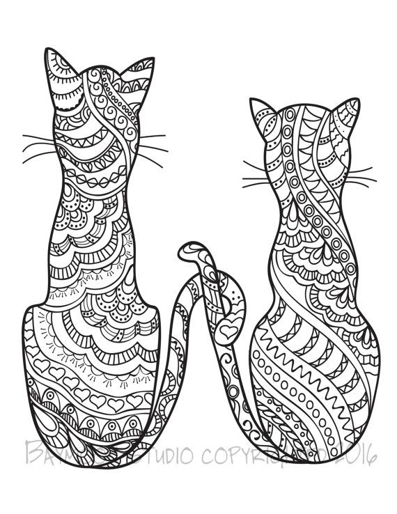 570x738 Cat Coloring Pages For Adults