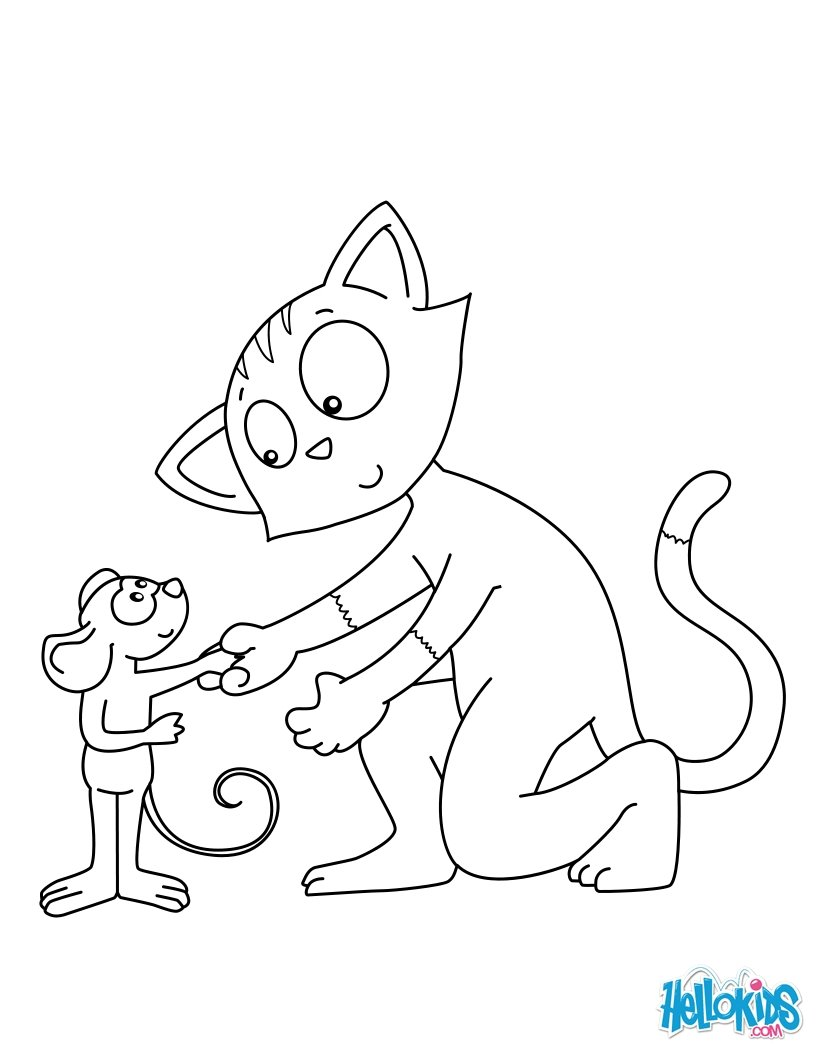 820x1060 Cat And Mouse Friends Coloring Pages