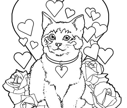 500x425 Cat Valentine Coloring Pages Valentines Printable Coloring Pages