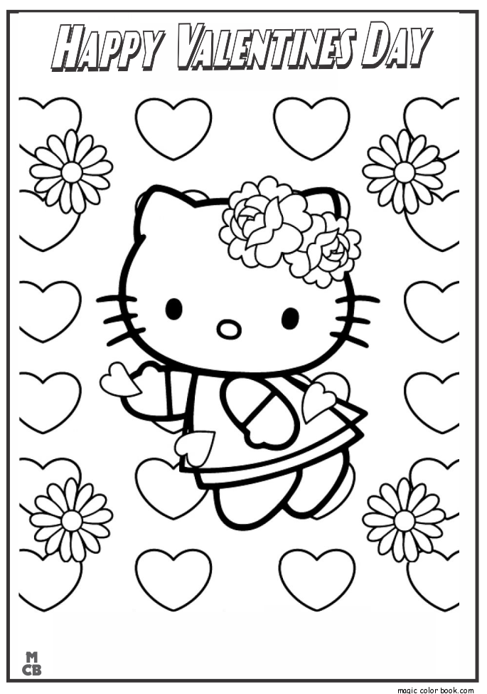 685x975 Valentines Day Hello Kitty Coloring Pages Inside Valentine