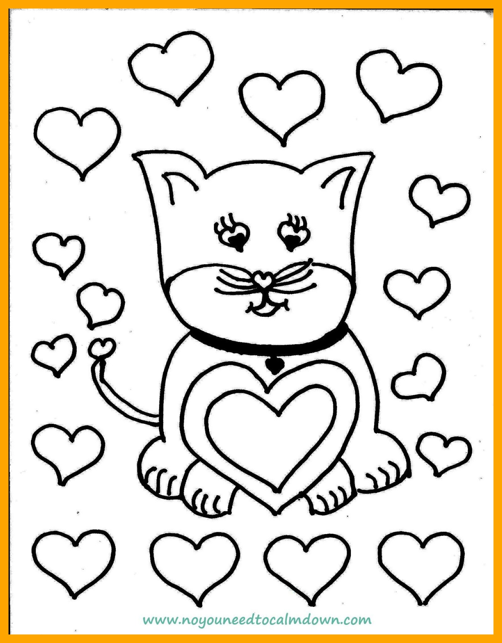 1604x2054 Awesome Cute Cat Valentine U Day Coloring Page Printable Picture