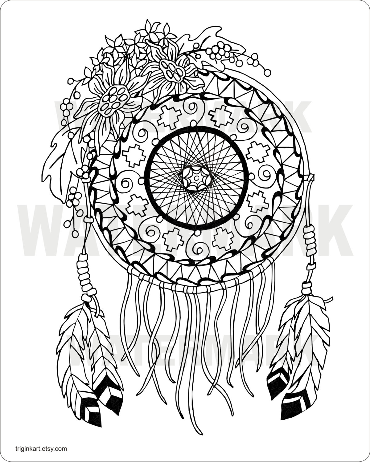 1200x1500 Dream Catcher Coloring Pages For Adults Sunflower Dream Catcher