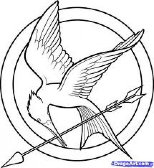 520x566 Catching Fire Mockingjay Pin Coloring Page