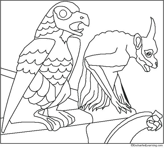 576x520 Grinning Gargoyle Coloring Page Dame Gargoyles Coloring Page Color