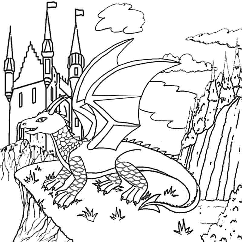 800x800 Cathedral Coloring Page