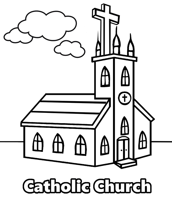 600x740 Coloring Page With Catholic Church