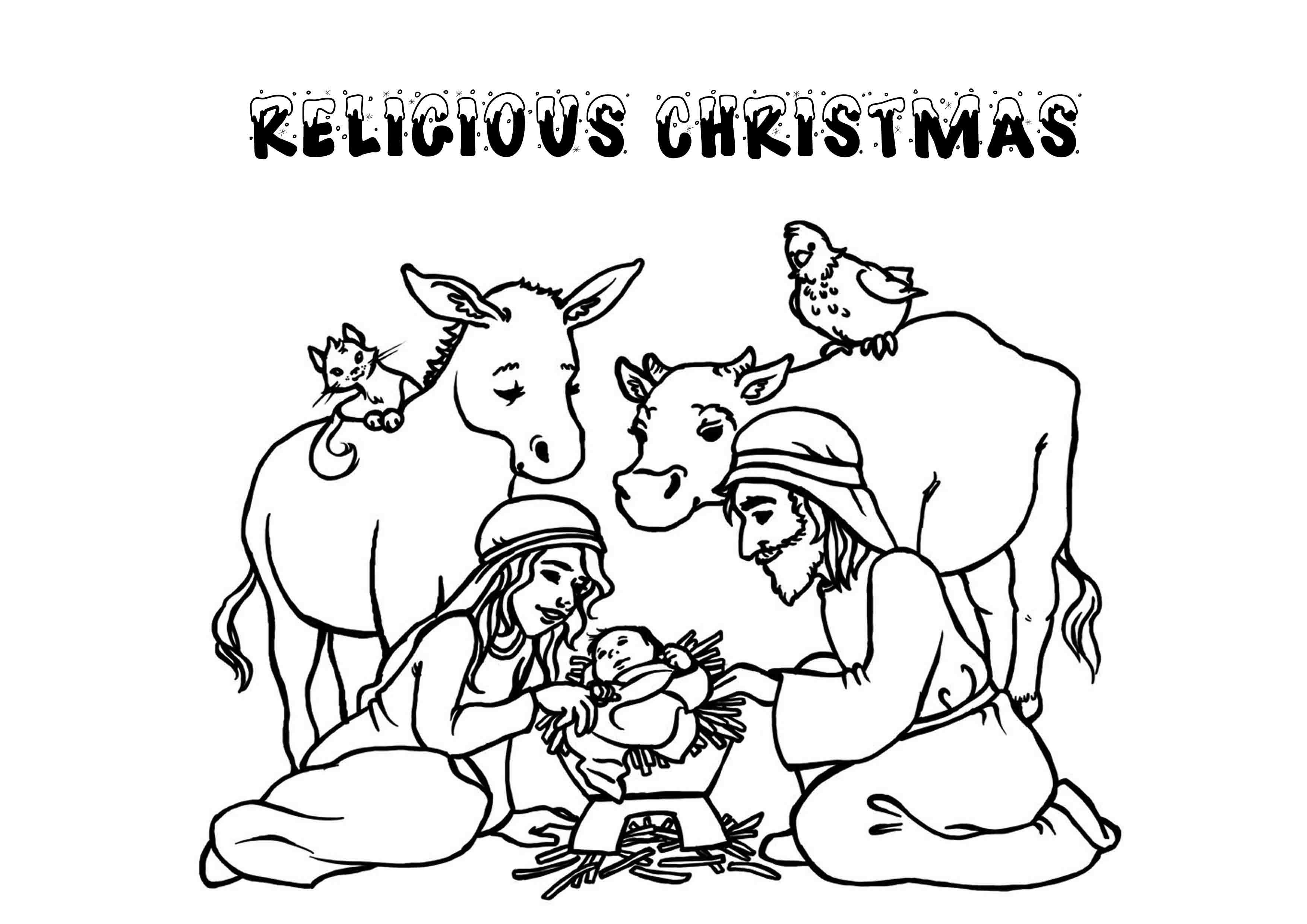 3508x2480 Awesome Religious Christmas Coloring Pages Printable Color Pics