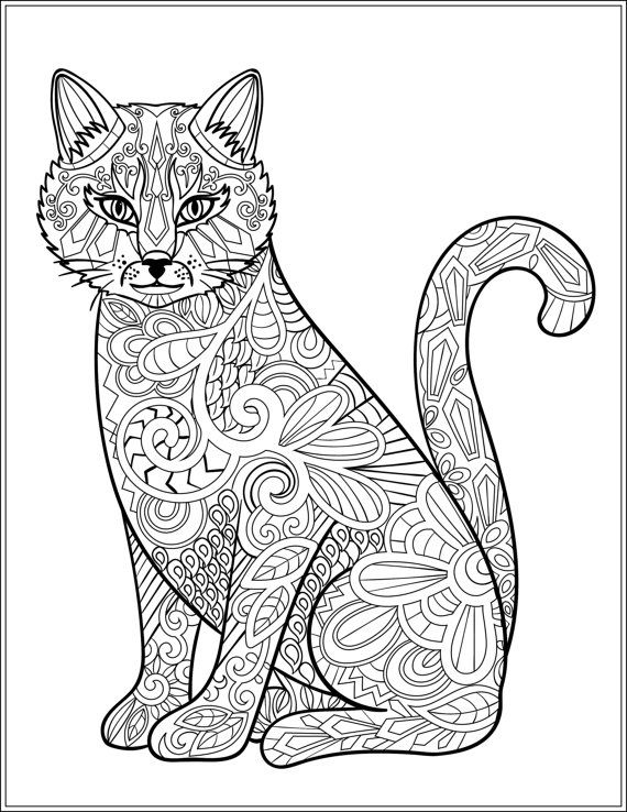 570x738 Best Colouring Cats Dogs Zentangles Images