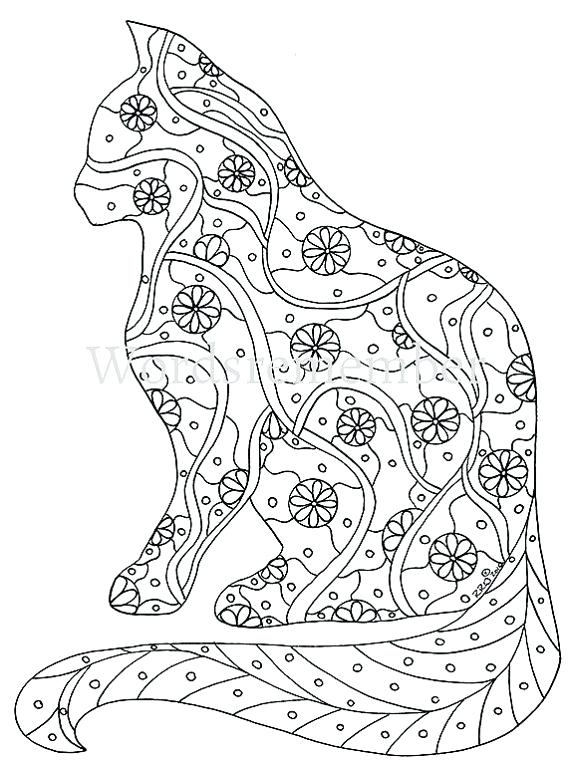570x765 Cat Coloring Pages For Adults Also Cats And Hearts Colouring Page