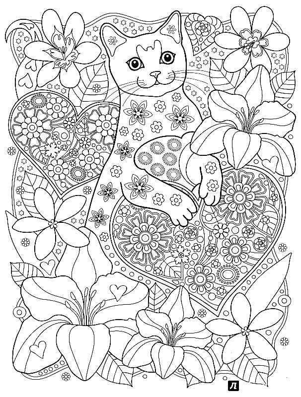 606x800 Cat Coloring Pages For Adults Free Printable Cat Coloring Pages