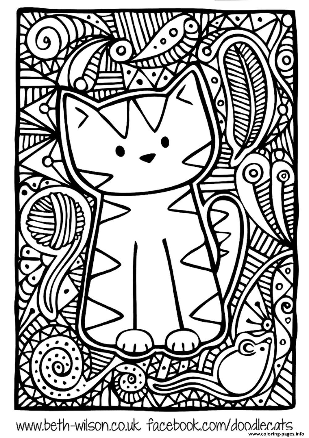 1000x1419 Cat Coloring Pages For Adults Head Cats Justcolor