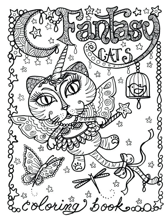 570x738 Art Coloring Page Fantasy Cats Coloring Page For Adults Art