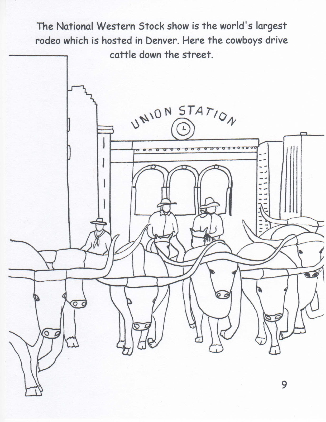 1236x1600 Cattle Drive Coloring Pages