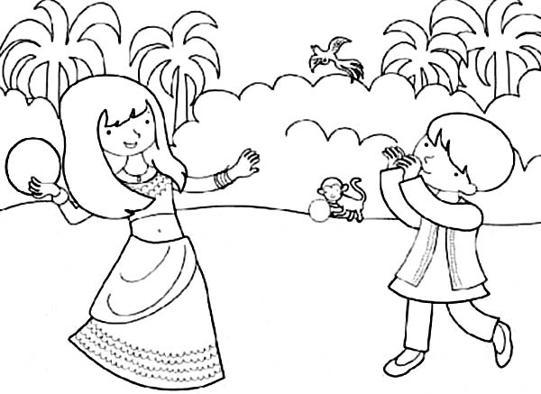 600x437 Brother And Sister Celebrate Diwali Coloring Page