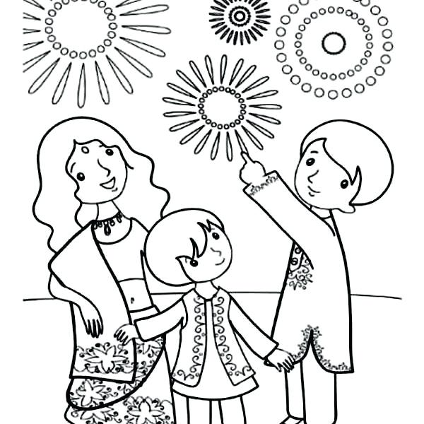 600x600 Diwali Coloring Page Coloring Pages Images A Family Celebrate