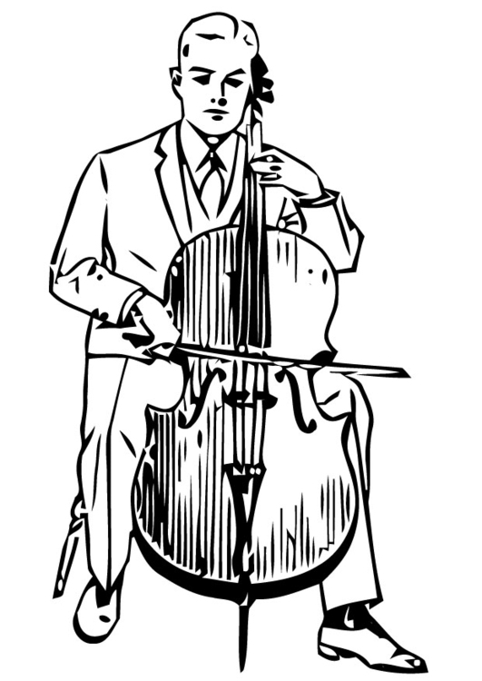 531x750 Coloring Page Cello