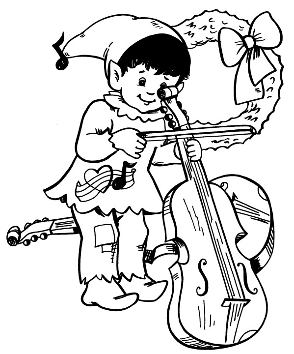 599x720 Printable Christmas Coloring Page Elf With Cello