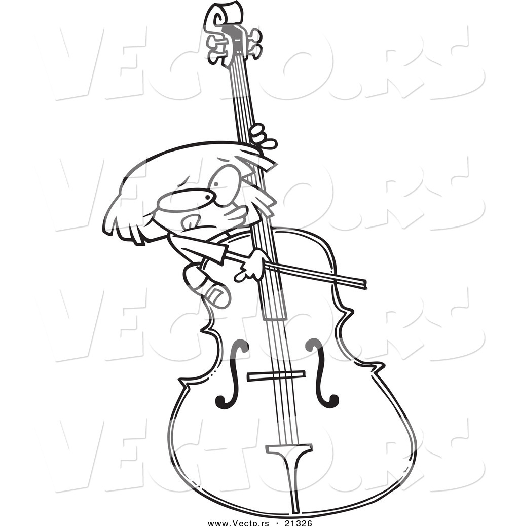 1024x1044 Vector Of A Cartoon Girl Playing A Giant Bass