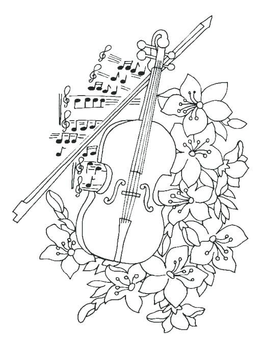 510x680 Cello Coloring Page