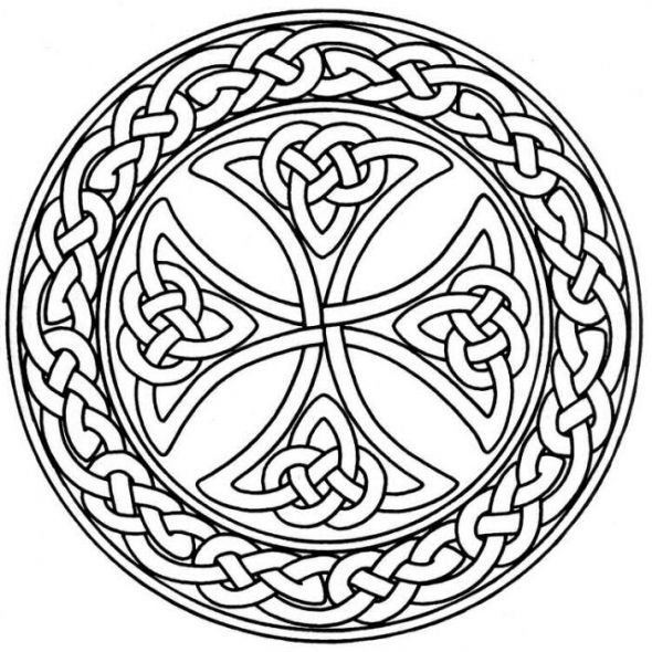 590x590 Celtic Cross Stained Glass Pattern Stained Glass Flower Coloring