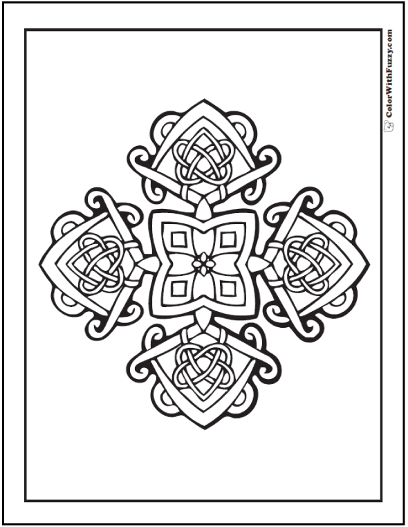 590x762 Coloring Pages Celtic Cross