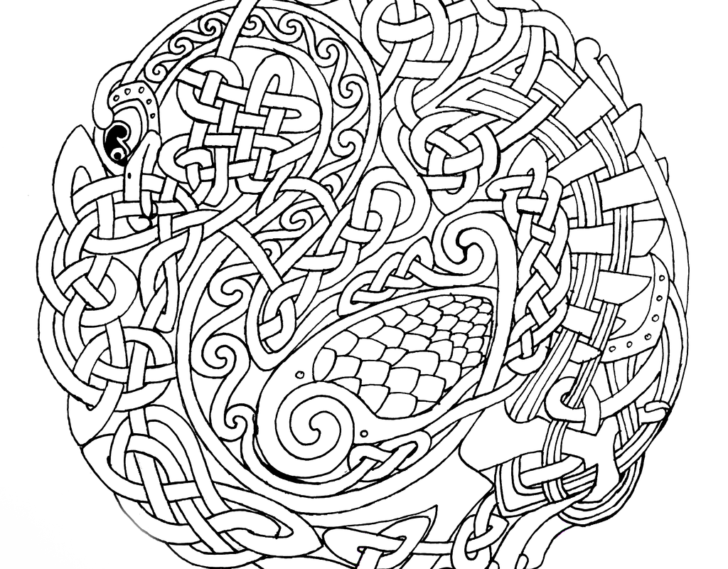 1024x800 Shamrock Celtic Black White Line Flower Art Cooring Page Free