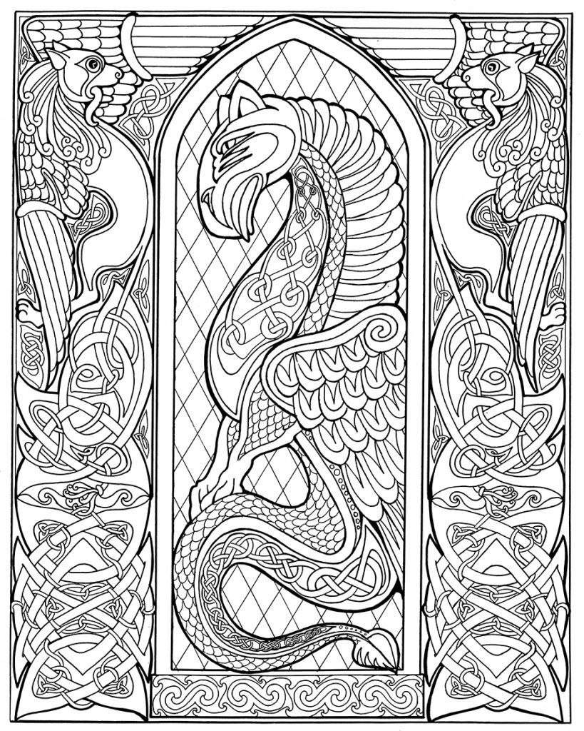 819x1024 Marvelous Artistic Celtic Design Coloring Page Printable Art