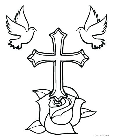 390x480 Cross Coloring Pictures Crosses Coloring Pages Page Cross Stained