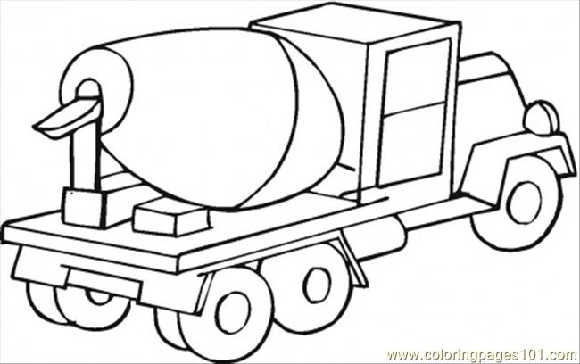 650x408 Cement Mixer Car Coloring Page