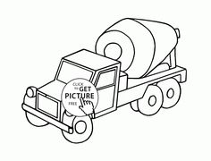 236x180 Cement Mixer Truck Coloring Page For Kids, Transportation Coloring