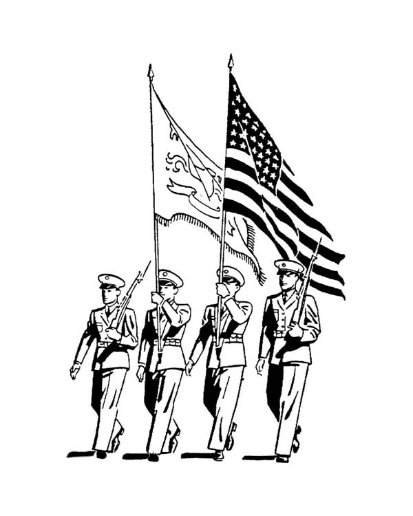 600x750 Celebrating Veterans Day With Officers March Parade Coloring Page