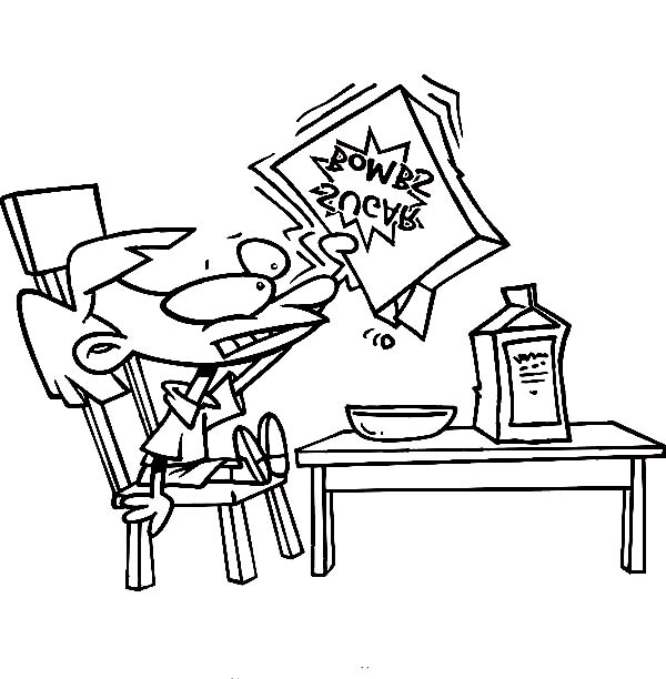 600x612 Kid Eating Cereal For Breakfast Coloring Page Coloring Sun